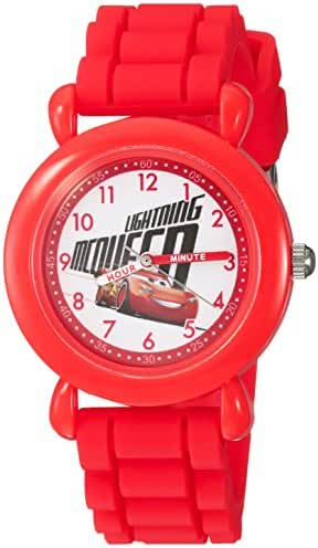 Disney Boy's 'Cars 3' Quartz Plastic and Silicone Casual Watch, Color:Red (Model: WDS000302)